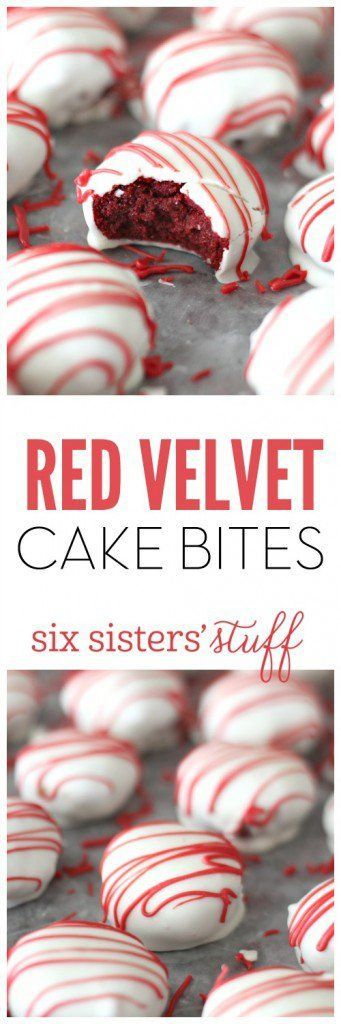 Red Velvet Cake Bites by Six Sisters Stuff | Valentine's Day is perfect for sweet treats. Check out these 7 easy Valentine's Day Desserts.  You'll get easy dessert recipes that you can make for your loved ones on Valentine's Day.  Valentine's day dessert recipes are festive and can be super easy. #ValentinesDayDesserts #ValentinesDay #desserts #dessertgifts #HWS #healthywealthyskinny
