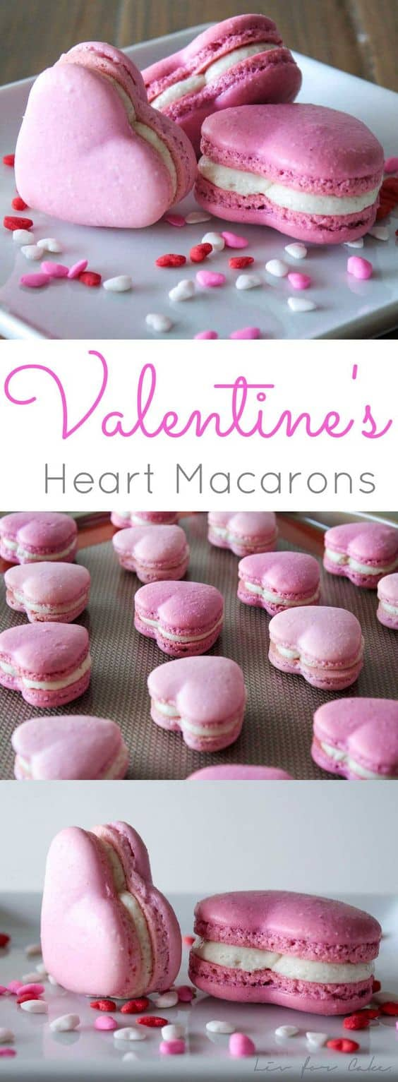 Valentine's Heart Macarons by Liv for Cake | Valentine's Day is perfect for sweet treats. Check out these 7 easy Valentine's Day Desserts.  You'll get easy dessert recipes that you can make for your loved ones on Valentine's Day.  Valentine's day dessert recipes are festive and can be super easy. #ValentinesDayDesserts #ValentinesDay #desserts #dessertgifts #HWS #healthywealthyskinny