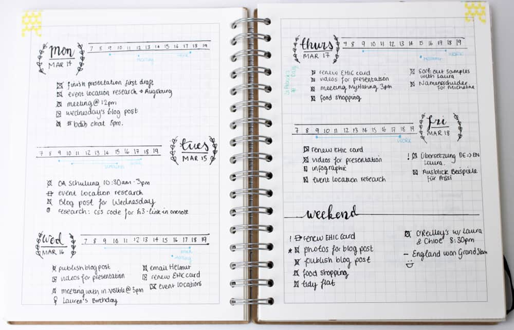 What is a Bullet Journal - Daily Log Example by Hannah Emily Lane