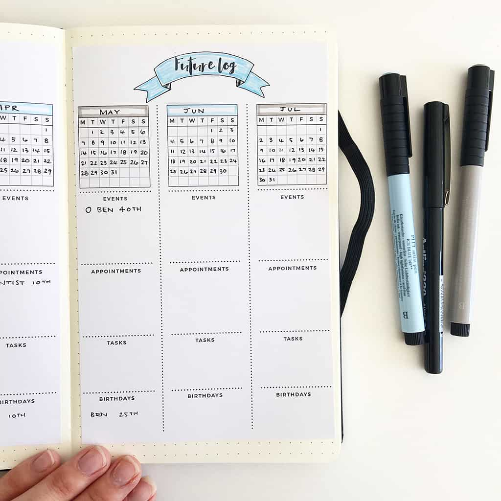 What is a Bullet Journal - Future Log Printable by Space and Quiet