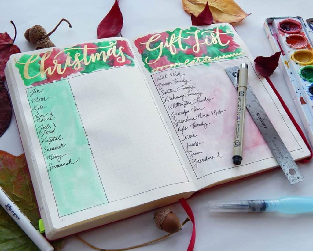What is a bullet Journal - Example Christmas Gift Tracker by Little Coffee Fox