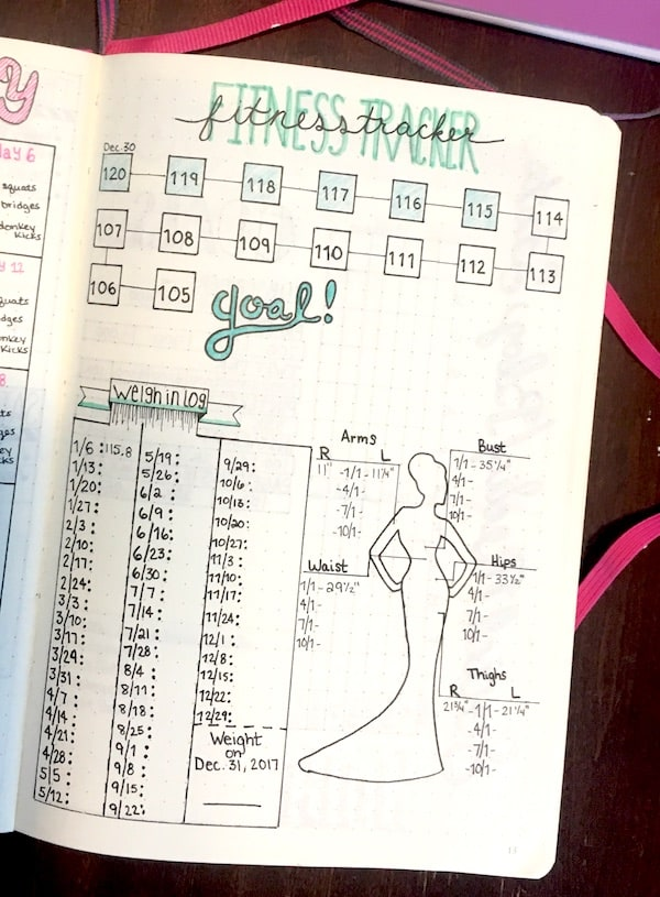 What is a Bullet Journal - Fitness Tracker Example by The Petite Planner