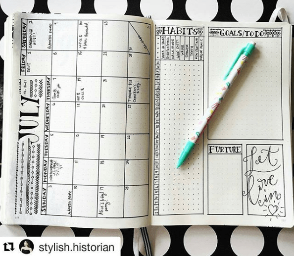 What is a Bullet Journal - Monthly Page by @Stylish.Historian
