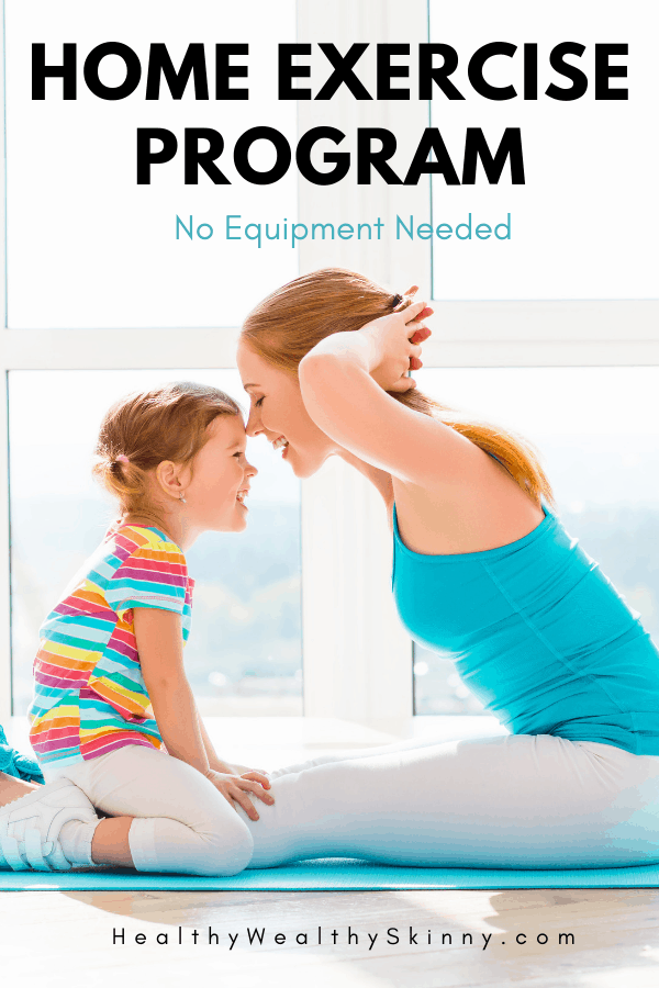 Home Exercise Program | Fitness | Working out doesn't have to be time consuming or confusing. Learn 20 Exercises you can do at home with no equipment needed. Includes how to videos and complete work out plans. #fitness #homeworkouts #workouts #workoutsforwomen #workoutsforbeginners #noequipmentworkouts #momworkouts #workfromhomeworkouts #workoutathome #wellness #healthywealthyskinny #HWS