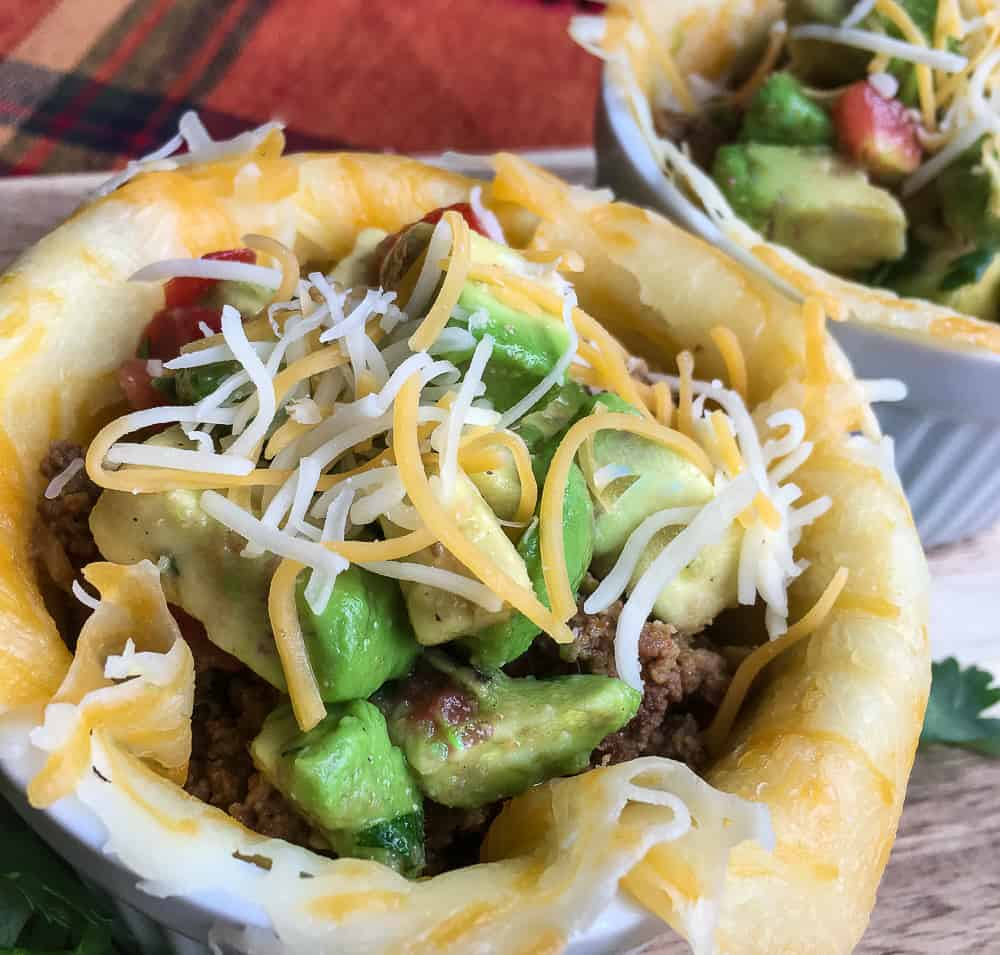 Keto Taco Cups with Avacado Salsa