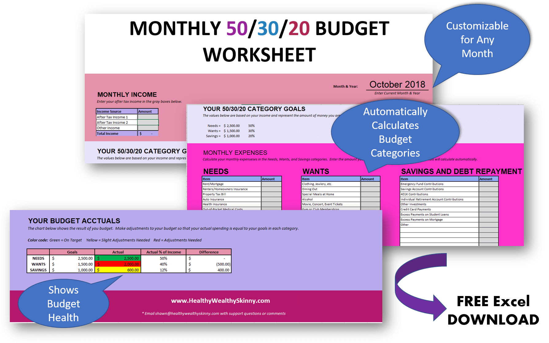 Free 50/30/20 Budget Worksheet | Free Excel Spreadsheet to help you create and maintain your monthly budget #budgeting #budget #freedownload #hws #healthywealthyskinny