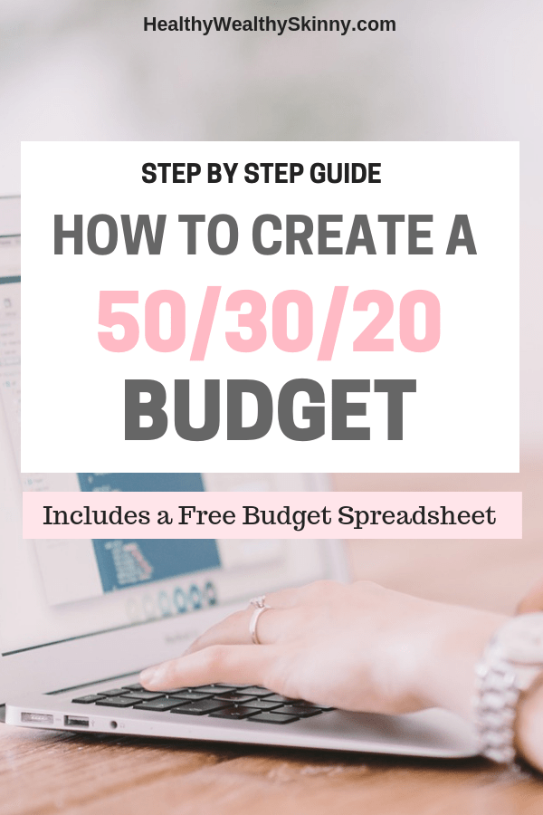 Budgeting | Are you looking for a simple and flexible way to manage your money. Learn how to create a 50/30/20 Budget with this Step by Step Guide. Get a Free budget spreadsheet to create your budget in a flash. #budgeting #personalfinance #budgeting101 #savingmoney #HWS #healthywealthyskinny