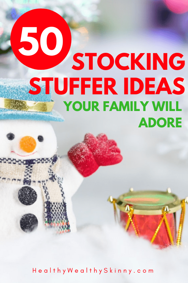 Stocking Stuffer Ideas | Here are more than 50 Christmas Stocking Stuffer Ideas that your entire family will love. #stockingstuffers #christmasgifts #frugalgifts #Christmas #HWS #healthywealthyskinny
