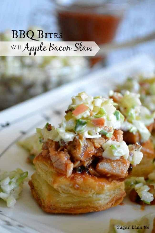 BBQ Bites with Apple Bacon Slaw by Sugar Dish Me | Super Bowl Party Food Ideas for your next super bowl party.  Get Super Bowl recipes for appetizers, main dishes,  chicken wings, drinks and cocktails. Find party food recipes to make your football party a crowd favorite. #superbowl #partyfood #partyrecipes #foodanddrink #superbowlparty #HWS #healthywealthyskinny