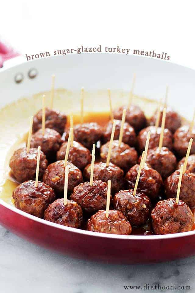 Brown Suger-Glazed Turkey Meatballs by Diethood | Super Bowl Party Food Ideas for your next super bowl party.  Get Super Bowl recipes for appetizers, main dishes,  chicken wings, drinks and cocktails. Find party food recipes to make your football party a crowd favorite. #superbowl #partyfood #partyrecipes #foodanddrink #superbowlparty #HWS #healthywealthyskinny