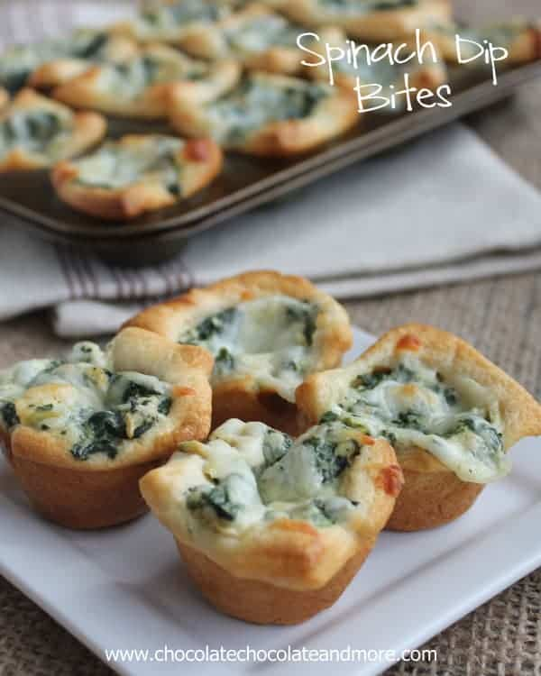 Spinach Dip Bites by Chocolate Chocolate and More | Super Bowl Party Food Ideas for your next super bowl party.  Get Super Bowl recipes for appetizers, main dishes,  chicken wings, drinks and cocktails. Find party food recipes to make your football party a crowd favorite. #superbowl #partyfood #partyrecipes #foodanddrink #superbowlparty #HWS #healthywealthyskinny