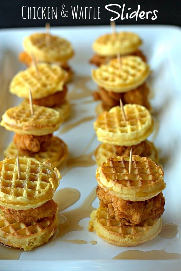 Chicken & Waffle Sliders by Food Folks and Fun | Super Bowl Party Food Ideas for your next super bowl party.  Get Super Bowl recipes for appetizers, main dishes,  chicken wings, drinks and cocktails. Find party food recipes to make your football party a crowd favorite. #superbowl #partyfood #partyrecipes #foodanddrink #superbowlparty #HWS #healthywealthyskinny