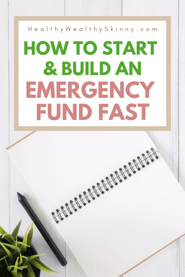 An emergency fund is essential to your financial health. If you are working on getting out of debt you must have the safety net of an emergency fund to keep you safe. Learn how to start and build your emergency fund even if your income is low. Get tips on how to build your emergency fund fast. Saving money for your emergency fund is possible. Ways to build your nest egg quickly. #emergencyfund #savemoneyfast #budgeting #savingmoney #nestegg #HWS #healthywealthyskinny
