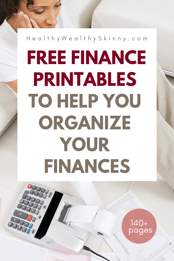 Free Finance Printables to help you organize your finances. Our Finance planner is designed to help you track and organize every aspect of your personal finances. Create your budget, manage savings, fund your emergency fund, track your daily spending, and even create a dept repayment plan.  You can do all of this using the Free Finance Planner from Healthy Wealthy Skinny.  It includes all the finance printables that you will need. #financeprintables #personalfinance #financetools #budgeting #savingmoney #financeplanner #HWS #healthywealthyskinny