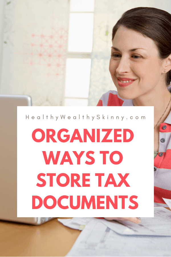 Organizing | Looking for ways to stay organized for tax season? Or how to organize tax documents for your accountant?  Knowing where to store tax documents, how to use tax organization worksheets, and the best way to organize receipts electronically will help make tax season a breeze. #organization #taxdocuments #organized #HWS #healthywealthyskinny