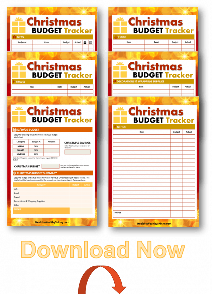 Download a copy of our Free Christmas Budget Tracker. It is a printable pdf that you can print to keep track of all of your holiday expenses.