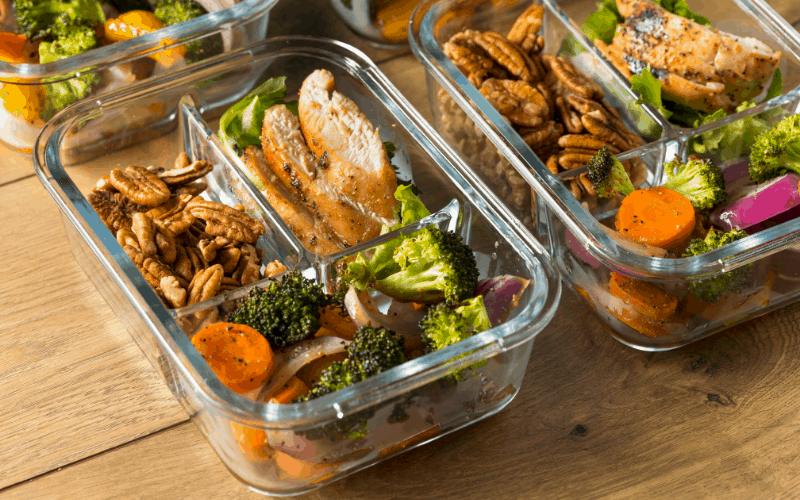 Save money by buying glass meal prep containers.  They are reusable, microwavable, and freezable.